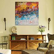 """Картины и панно ручной работы. Ярмарка Мастеров - ручная работа """"Солнце-Море"""" 90х90 см большая картина маслом мастихином. Handmade."""