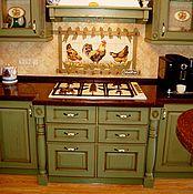 Дизайн и реклама handmade. Livemaster - original item Painted tiles Apron for kitchen Country. Handmade.