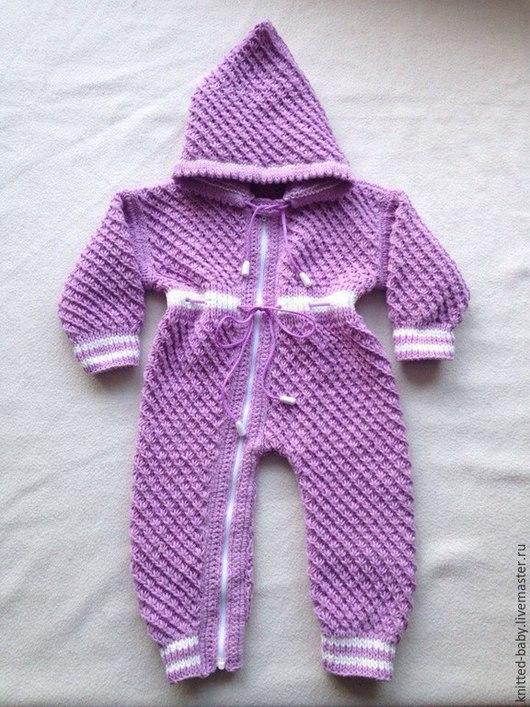 Одежда ручной работы. Ярмарка Мастеров - ручная работа. Купить Комбинезон с капюшоном для новорожденных. Handmade. Разноцветный, вязание спицами
