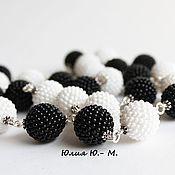 Украшения handmade. Livemaster - original item beads black and white, beads, beaded beads. Handmade.