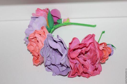 Диадемы, обручи ручной работы. Ярмарка Мастеров - ручная работа. Купить Ободок с розами. Handmade. Комбинированный, ободок с цветком, для девочки
