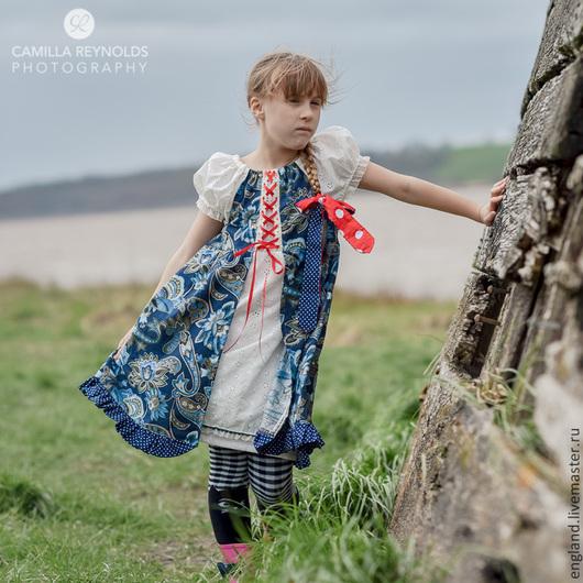 Одежда для девочек, ручной работы. Ярмарка Мастеров - ручная работа. Купить Платье сине белое море Хлопок батистовое шитье. Handmade.