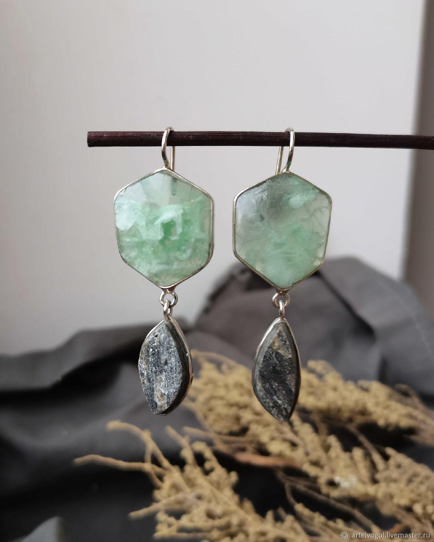 Asymmetrical earrings with fluorite and utkinton, Earrings, Nizhnij Tagil,  Фото №1