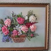 """Картины и панно ручной работы. Ярмарка Мастеров - ручная работа Вышивка лентами картины """"Розы в корзине"""". Handmade."""