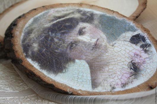 Люди, ручной работы. Ярмарка Мастеров - ручная работа. Купить Панно портрет на спиле дерева, декупаж,  состаривание. Handmade. Панно