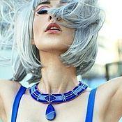 Украшения handmade. Livemaster - original item Beaded necklace agate Sea surface blue violet. Handmade.