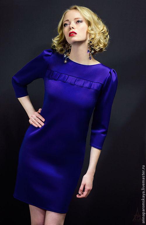 Платья ручной работы. Ярмарка Мастеров - ручная работа. Купить Королевский синий. Платье. Handmade. Синий, платье в офис