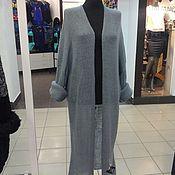Одежда ручной работы. Ярмарка Мастеров - ручная работа кардиган бохо оверсайз цвета угольный серый. Handmade.