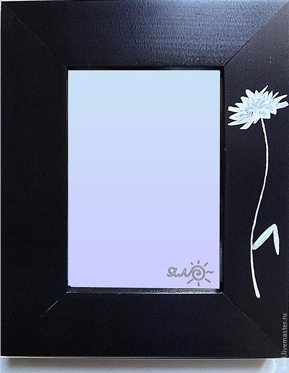 Зеркало настольное чёрно-белое Хризантема, Зеркала, Новосибирск,  Фото №1