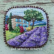Украшения handmade. Livemaster - original item The brooch is knitted with microphysical Lavender fields micro. Handmade.