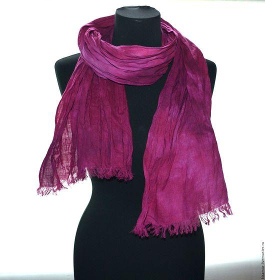 Шарфы и шарфики ручной работы. Ярмарка Мастеров - ручная работа. Купить шарф льняной розовая фуксия  ручная окраска подарок женщине. Handmade.
