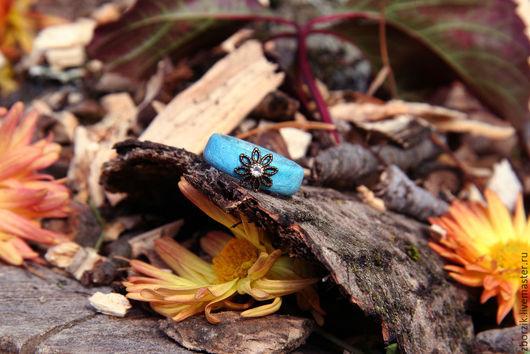 Кольца ручной работы. Ярмарка Мастеров - ручная работа. Купить Голубой цветок. Handmade. Подарок девушке, свадьба, деревянные кольца