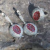 Украшения handmade. Livemaster - original item Garnet jewelry set with zircons made of 925 GA0051 silver. Handmade.