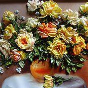 Картины и панно ручной работы. Ярмарка Мастеров - ручная работа розы на столе. Handmade.