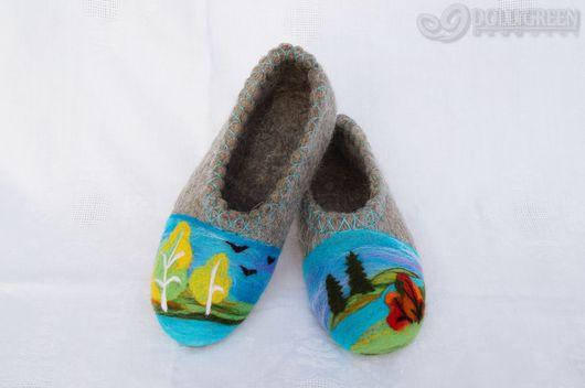 """Обувь ручной работы. Ярмарка Мастеров - ручная работа. Купить Валяные тапочки """"Осенняя пора"""". Handmade. Серый, тапочки домашние"""