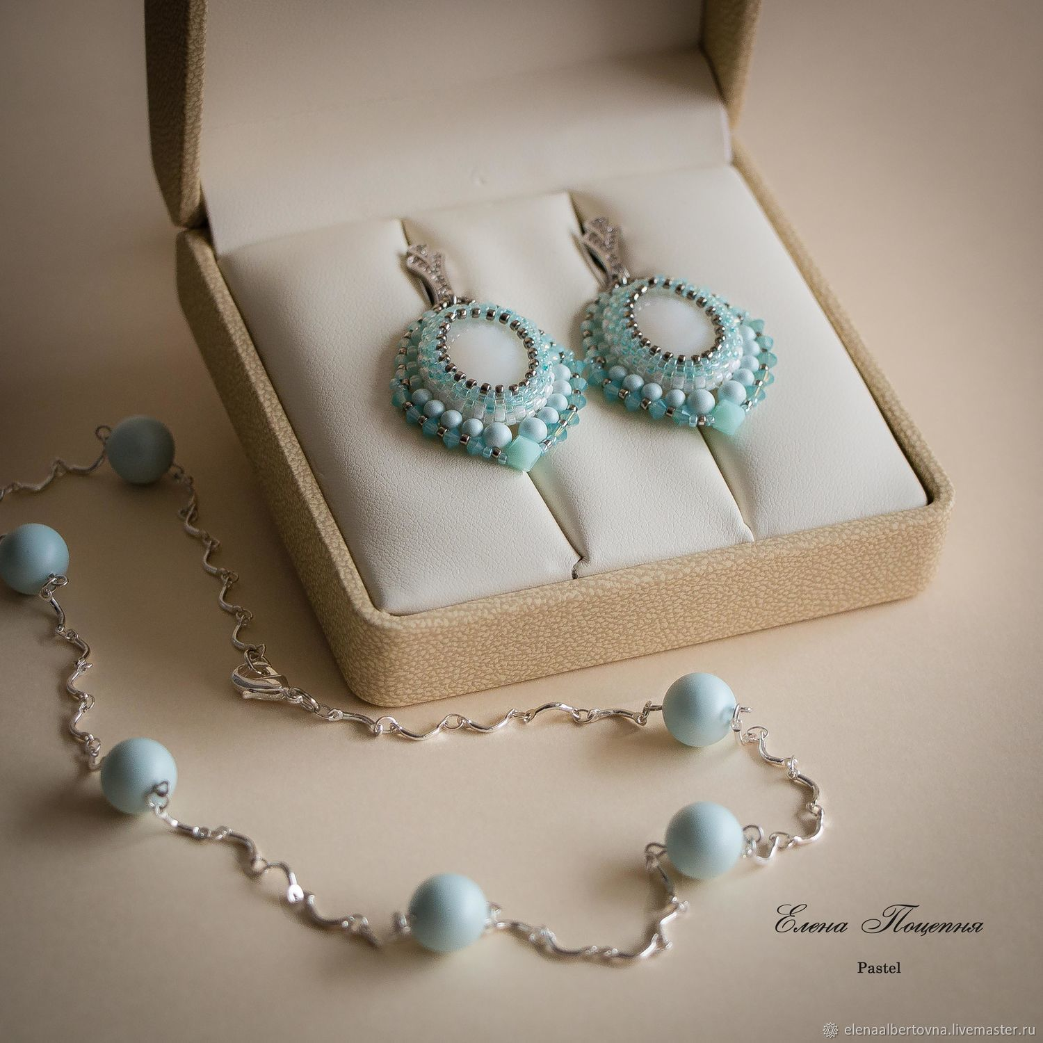 Jewelry sets handmade. Fair Masters - handmade. Buy Blue set. blue gentle. Earrings and a necklace, `Pastel`. Handmade.  blue. Pastel blue. Blue earrings