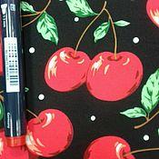Ткани ручной работы. Ярмарка Мастеров - ручная работа Ткань натуральная хлопок  вишни на черном  ,стрейч. Handmade.