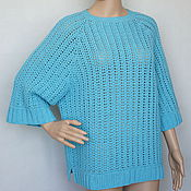 Одежда handmade. Livemaster - original item Pullover cashmere Merino Turquoise. Handmade.