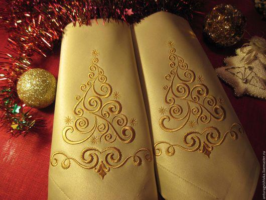 Вышитые салфетки, Салфетки с вышивкой, Новогодний интерьер, Новогодний подарок, Подарок на Новый год, Новый год, Подарок на Рождество, Рождественский подарок