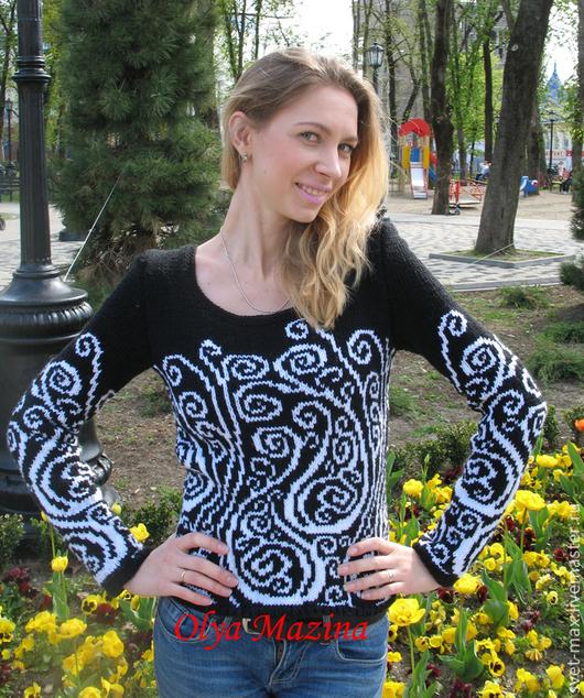 Кофты и свитера ручной работы. Ярмарка Мастеров - ручная работа. Купить Пуловер Инь-Янь. Handmade. Чёрно-белый, свитер
