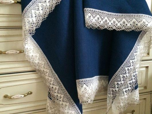 """Текстиль, ковры ручной работы. Ярмарка Мастеров - ручная работа. Купить Скатерть льняная """" Ночное небо"""". Handmade."""