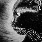 Картины и панно ручной работы. Ярмарка Мастеров - ручная работа Величественный кот (30 х 40 см). Handmade.