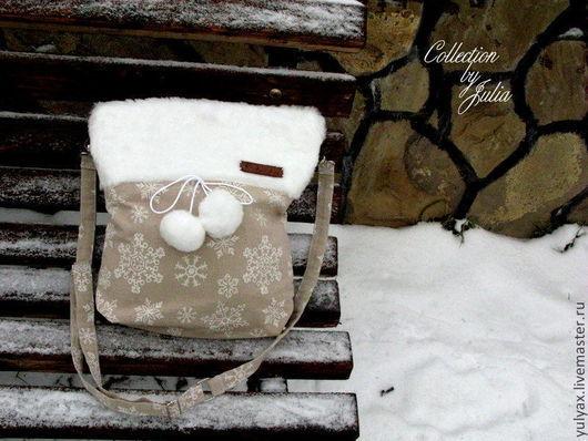 """Женские сумки ручной работы. Ярмарка Мастеров - ручная работа. Купить Зимняя сумка """"Снежинки"""". Handmade. Бежевый, сумка с мехом"""