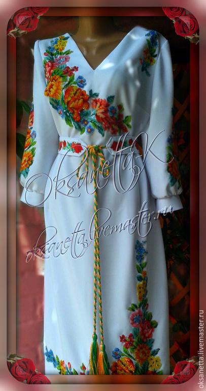 """Платья ручной работы. Ярмарка Мастеров - ручная работа. Купить Платье """"Весенняя радуга 2"""". Handmade. Вышивка гладью, платье"""
