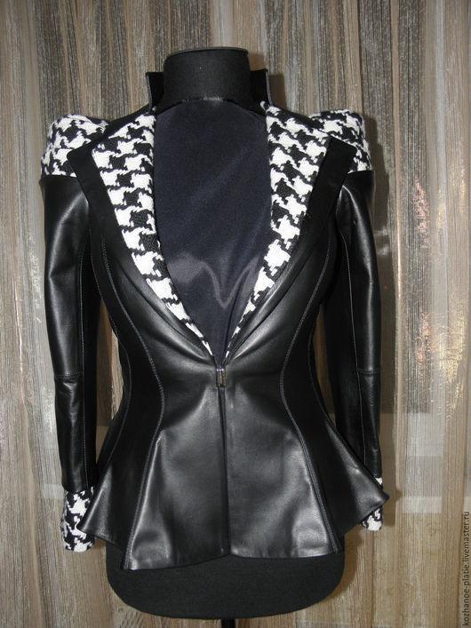 Верхняя одежда ручной работы. Ярмарка Мастеров - ручная работа. Купить Кожаный жакет, кожаный пиджак, кожаная куртка с баской. Handmade.