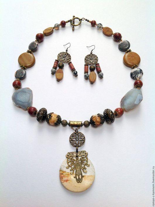 Колье из натуральных камней в этническом стиле Боярыня. Авторская работа. Handmade ethnic necklace.