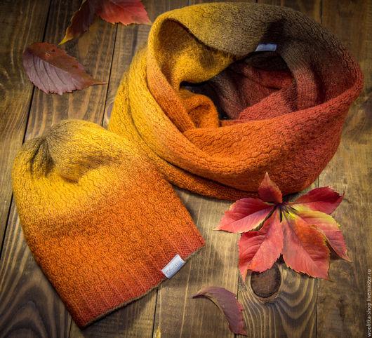 Шарфы и шарфики ручной работы. Ярмарка Мастеров - ручная работа. Купить Снуд и шапка KAUNI RUSTY. Handmade. Оранжевый, шарф