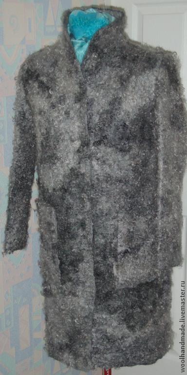 Верхняя одежда ручной работы. Ярмарка Мастеров - ручная работа. Купить Пальто из шерсти Серая каракульча. Handmade. Серый