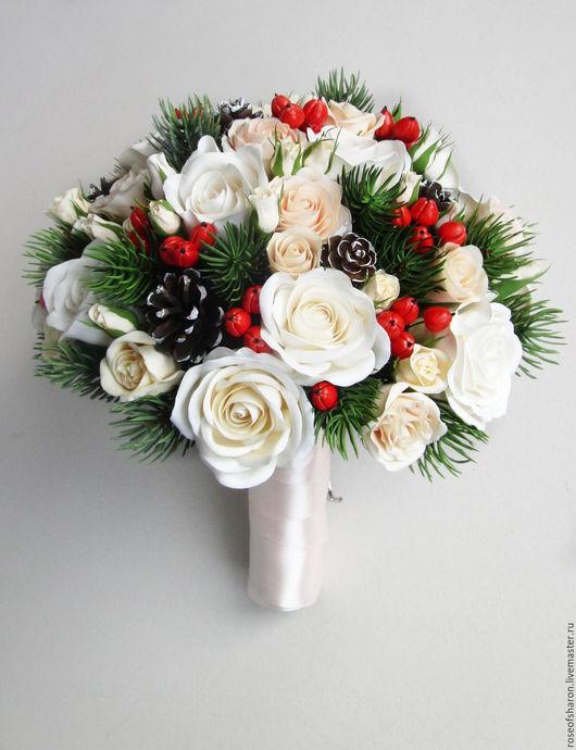 Свадебные цветы ручной работы. Ярмарка Мастеров - ручная работа. Купить Зимний букет с розами. Handmade. Бежевый, зимний букет
