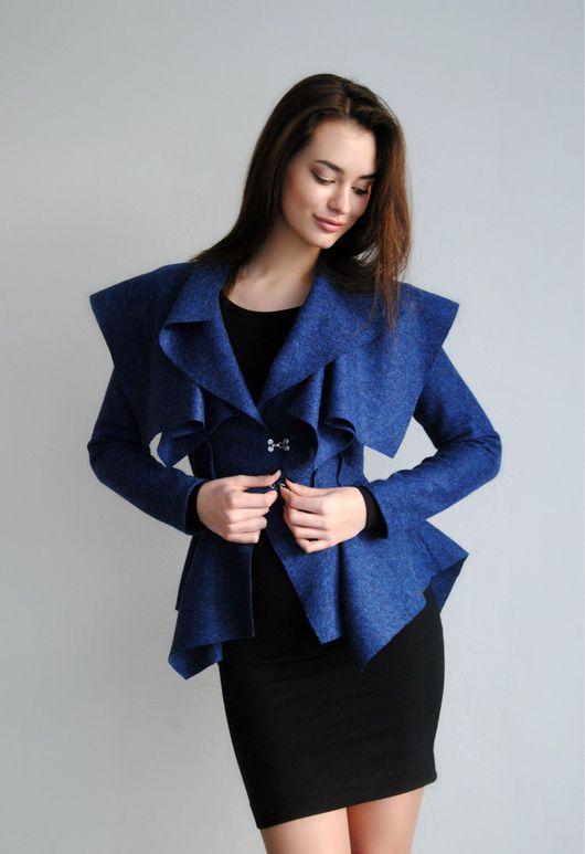 Пиджаки, жакеты ручной работы. Ярмарка Мастеров - ручная работа. Купить Жакет синий. Handmade. Женская одежда, одежда, жакет