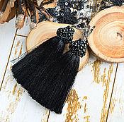 """Украшения ручной работы. Ярмарка Мастеров - ручная работа Серьги кисточки """"Black"""", серьги черные с агатами. Handmade."""