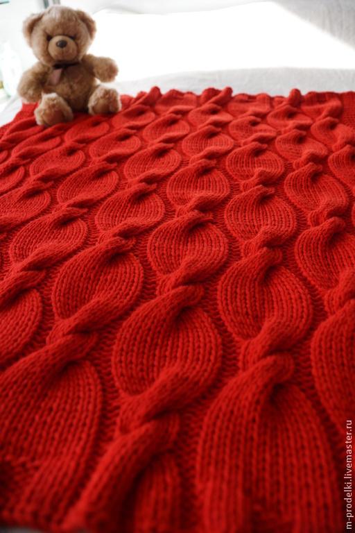 Текстиль, ковры ручной работы. Ярмарка Мастеров - ручная работа. Купить Вязаный детский плед Аврора. Handmade. Ярко-красный