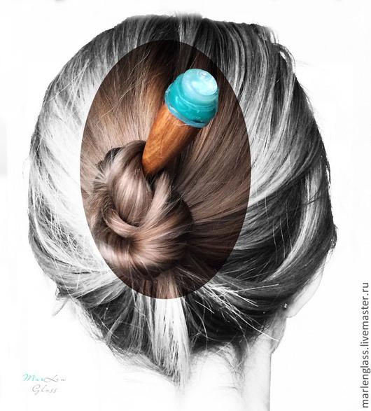 Заколки ручной работы. Ярмарка Мастеров - ручная работа. Купить Палочка для волос - Ледяная. Handmade. Тёмно-бирюзовый, лэмпворк