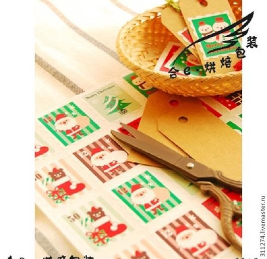 Упаковка ручной работы. Ярмарка Мастеров - ручная работа. Купить Новогодние  наклейки. 20 шт. на листе.. Handmade. Наклейки