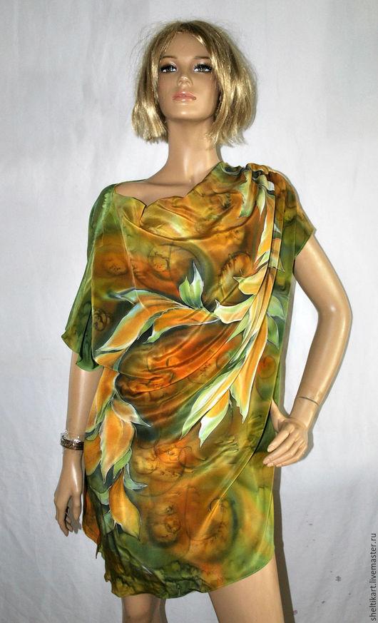 """Блузки ручной работы. Ярмарка Мастеров - ручная работа. Купить Блуза """" Лавр макси"""". Handmade. Хаки, одежда батик"""