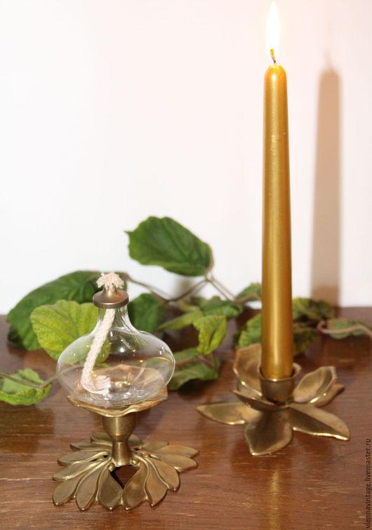 Винтажные предметы интерьера. Ярмарка Мастеров - ручная работа. Купить Лампа масляная и подсвечник. Handmade. Лампа керосиновая, подсвечник