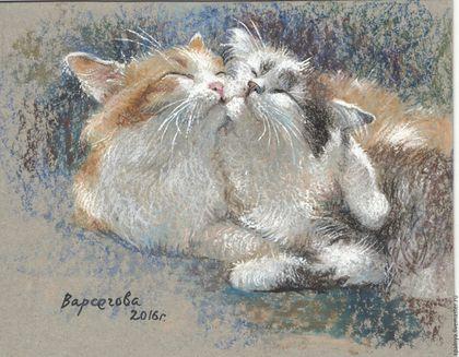 """Животные ручной работы. Ярмарка Мастеров - ручная работа. Купить Картина """"Мурнежность"""",картина  кошка,нежность,ласка,пушистики. Handmade."""