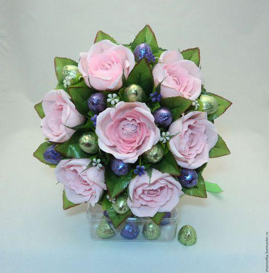 """Букеты ручной работы. Ярмарка Мастеров - ручная работа. Купить Букет из конфет """"Розовые розы"""".. Handmade. Бледно-розовый"""