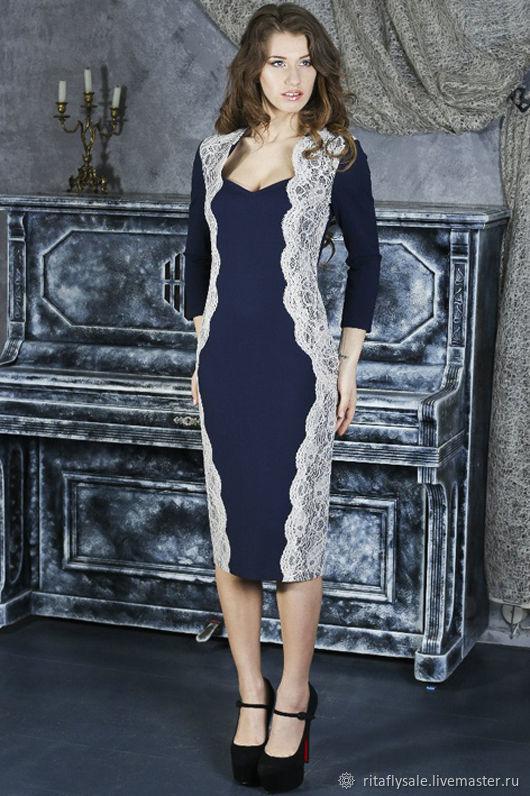 046-1: 44 размер - Вечернее платье футляр из джерси с кружевом, Платья, Москва,  Фото №1