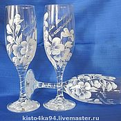 Посуда handmade. Livemaster - original item Wedding glasses hand painted. Handmade.
