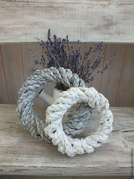Другие виды рукоделия ручной работы. Ярмарка Мастеров - ручная работа. Купить Венок декоративный плетеный (серый и белый). Handmade.
