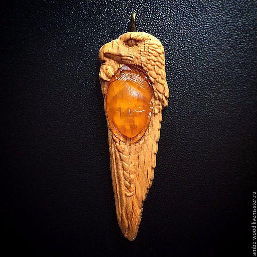 """Кулоны, подвески ручной работы. Ярмарка Мастеров - ручная работа. Купить Оберег """"Цветок орла"""". Handmade. Янтарь, балтийский янтарь"""