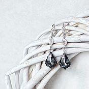 """Украшения ручной работы. Ярмарка Мастеров - ручная работа Серьги с кристаллами Swarovski """"Изящный серый"""". Handmade."""