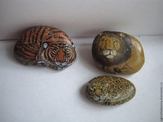 Роспись по камню ручной работы. Ярмарка Мастеров - ручная работа. Купить Дикие животные (набор). Handmade. Оранжевый, роспись по камню