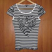 Винтаж handmade. Livemaster - original item Vintage clothing: Knitted striped sweater with short sleeves. Handmade.