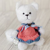"""Куклы и игрушки ручной работы. Ярмарка Мастеров - ручная работа кот """"Лина"""" белая вязаная мягкая игрушка. Handmade."""